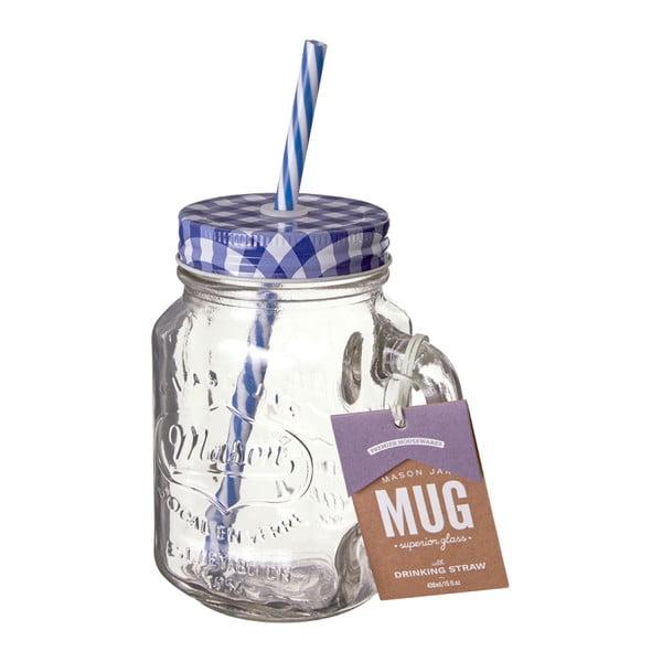 Pohár s modrým viečkom a slamkou Premier Housewares, 450 ml
