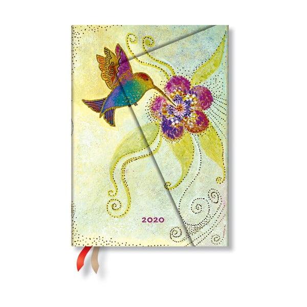 Wielokolorowy kalendarz na rok 2020 w twardej oprawie Paperblanks Hummingbird, 368 str.