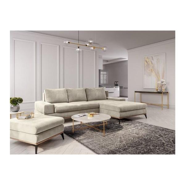 Canapea extensibilă tip colțar cu șezlong pe partea dreaptă Windsor & Co Sofas Astre, bej