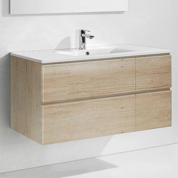 Koupelnová skříňka s umyvadlem a zrcadlem Capri, dekor dřeva, 120 cm