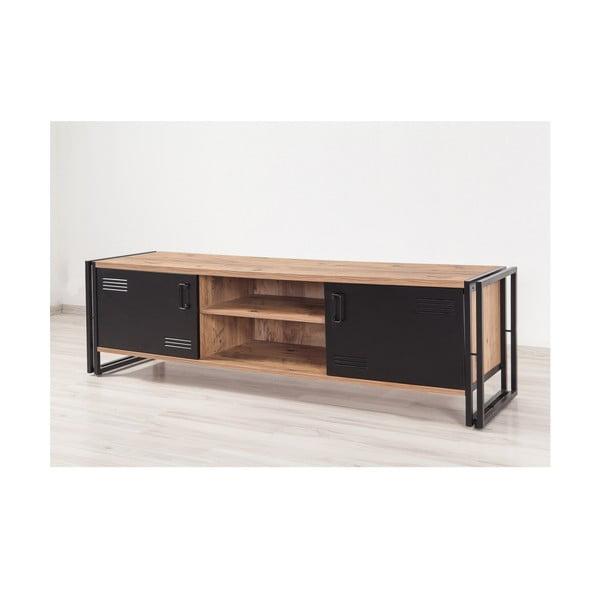 Szafka pod TV z czarnymi drzwiczkami Industrio, dł. 180 cm
