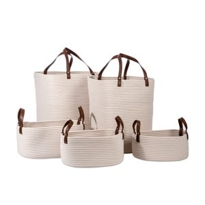 Sada 5 košíků Cotton White