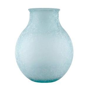Tyrkysová skleněná váza z recyklovaného skla Ego Dekor Silk, výška 36 cm