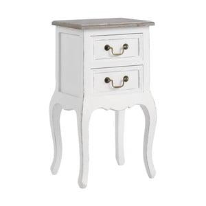 Bílý noční stolek z masivního dřeva se 2 zásuvkami 13Casa Adele