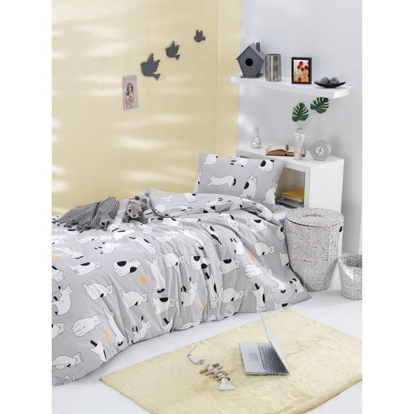Lenjerie de pat din bumbac ranforce pentru pat de 1 persoană Mijolnir Liana Grey, 140 x 200 cm