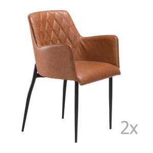 Sada 2 hnědých jídelních židlí s područkami DAN– FORM Rombo Faux