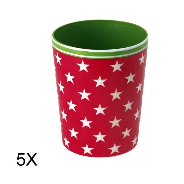 Set 5ks hrnků Star Red