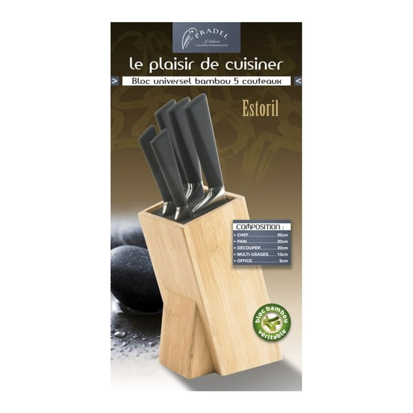 Sada 5 nožů a bloku na nože Jean Dubost Estoril Bamboo