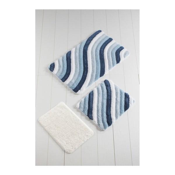 Komplet 3 niebieskich dywaników łazienkowych Colorful