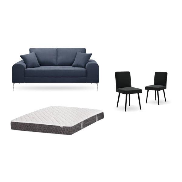 Set canapea albastru închis, 2 scaune negre, o saltea 140 x 200 cm Home Essentials