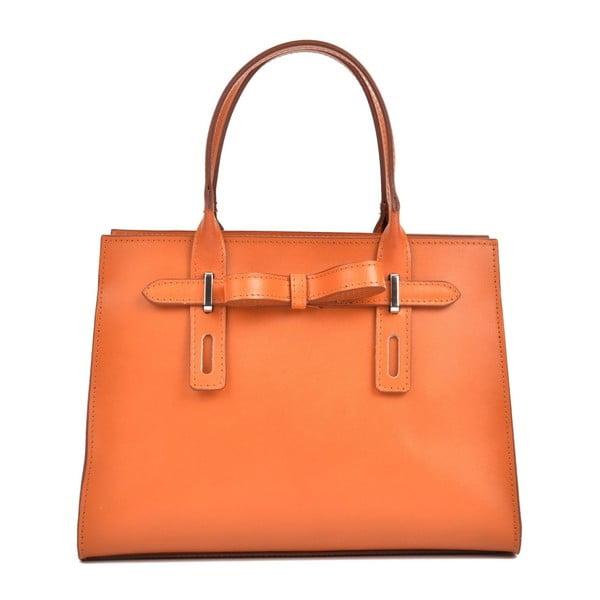 Koňakově hnědá kožená kabelka Mangotti Bags Marcia
