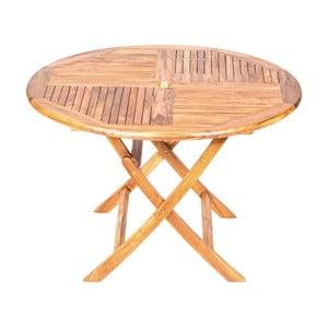 Skládací zahradní stůl s deskou z teakového dřeva Massive Home Shankar, ⌀120cm