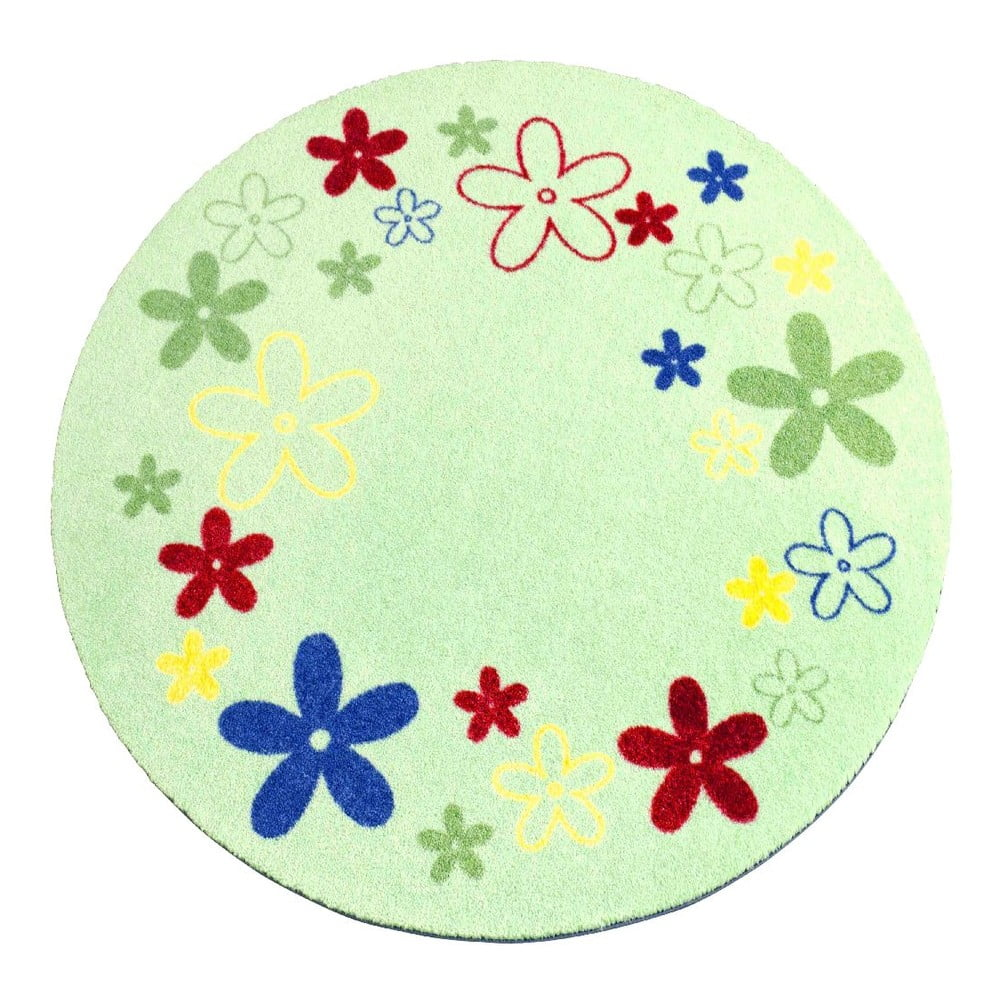 Dětský zelený koberec Zala Living Flower, ⌀100cm