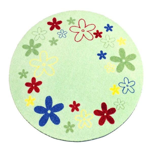 Dětský zelený koberec Hanse Home Kvítí, ⌀100cm
