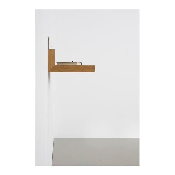 Police s antracitově šedým detailem z dubového dřeva das kleine b Buck, 60 x 15 cm