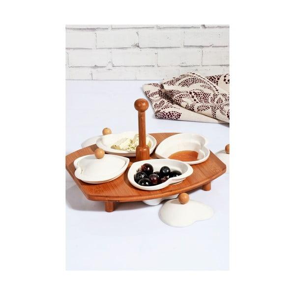 Zestaw 4 porcelanowych miseczek z wieczkiem i bambusowym stojakiem Kosova Daniela