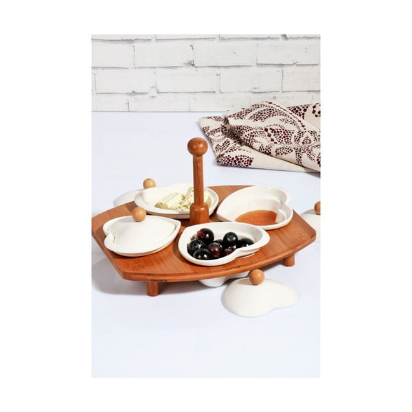 Sada 4 porcelánových mističek s víčkem a bambusovým stojanem Kosova Daniela