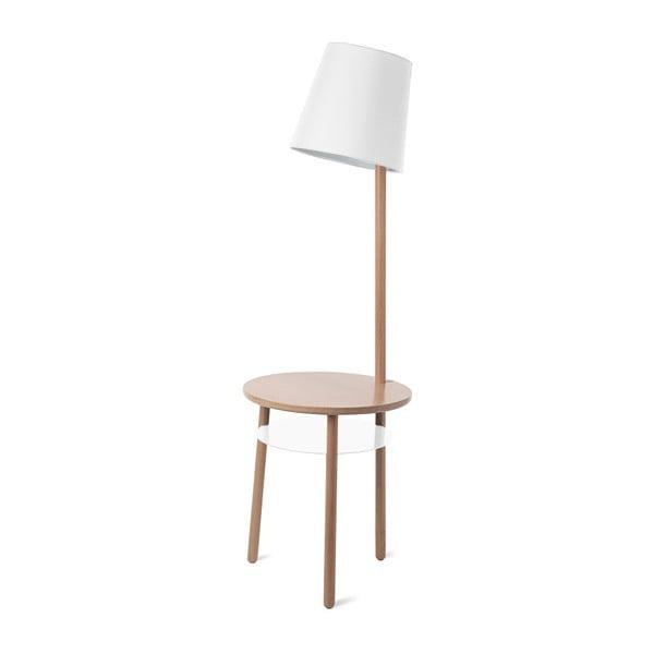 Biała lampa stojąca z drewna jesionowego HARTÔ Josette