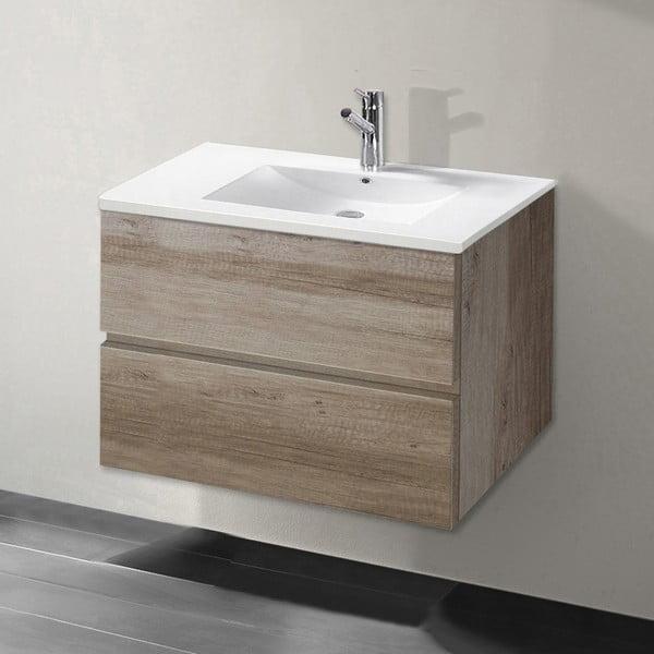 Koupelnová skříňka s umyvadlem a zrcadlem Flopy, dekor dubu, 70 cm