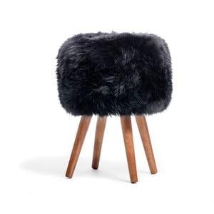 Stolička s černým sedákem z ovčí kožešiny Royal Dream