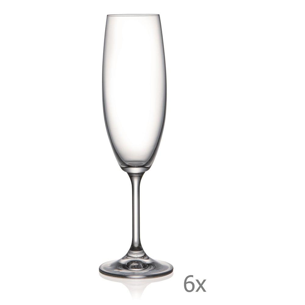 Sada 6 sklenic na šampaňské Crystalex Lara, 220 ml