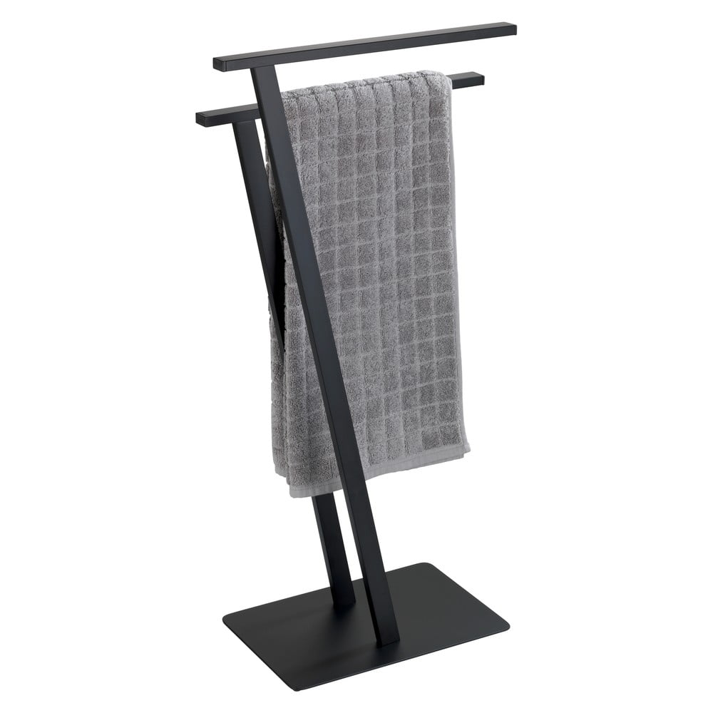 Produktové foto Černý držák na ručníky z nerezové oceli Wenko Lirio