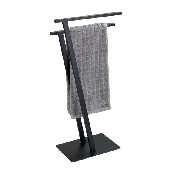 Černý držák na ručníky z nerezové oceli Wenko Lirio