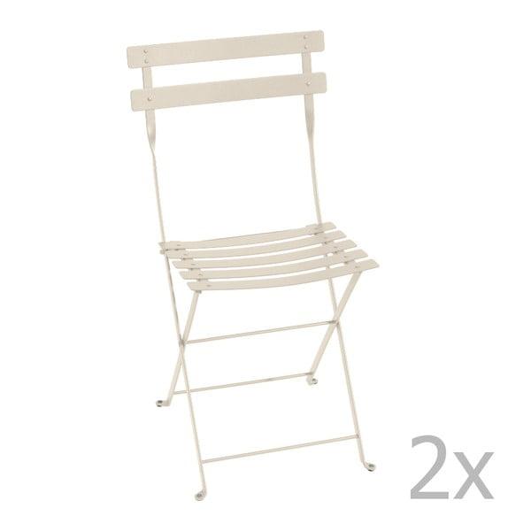 Sada 2 krémových skládacích židlí Fermob Bistro