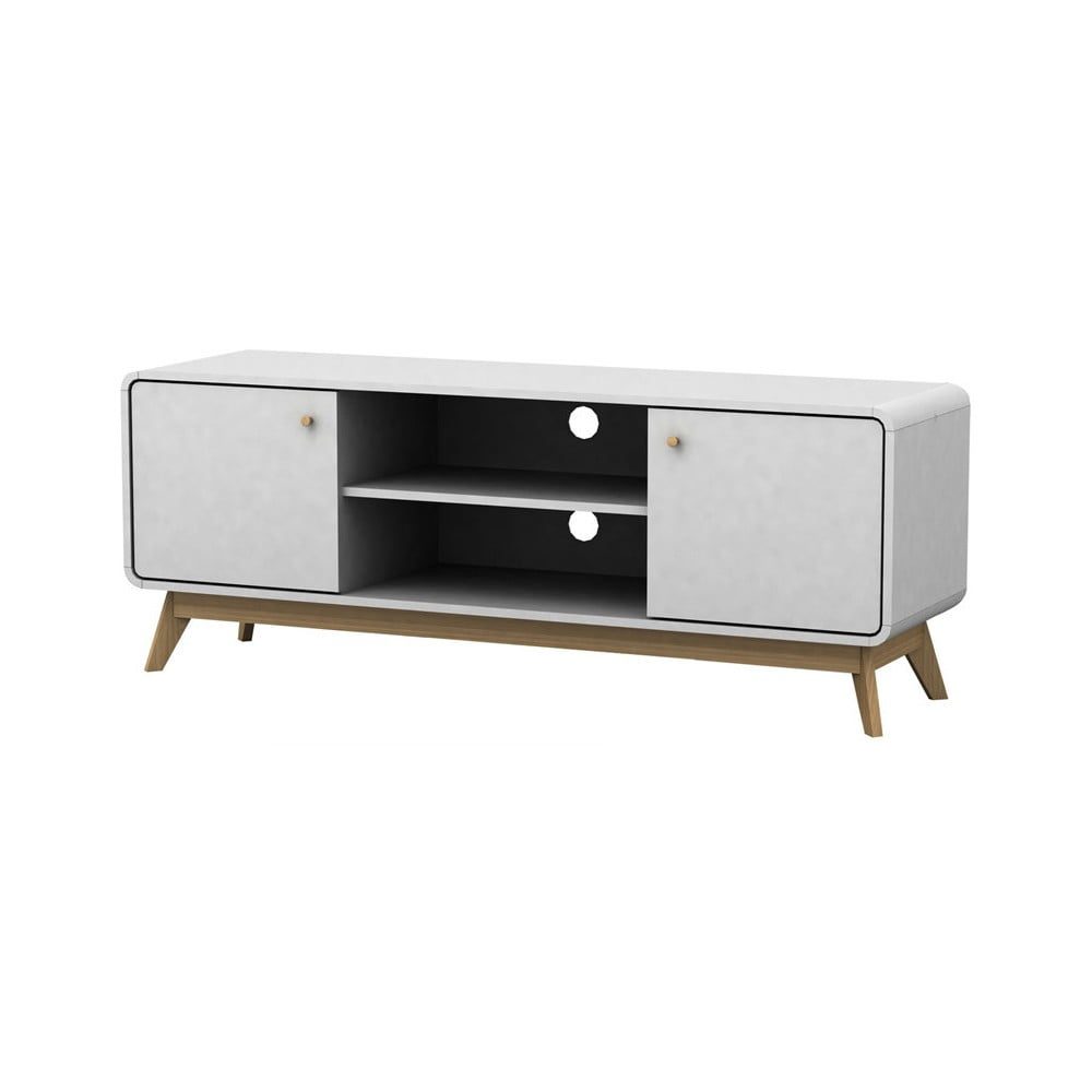 Bílý dřevěný TV stolek Støraa Cleo