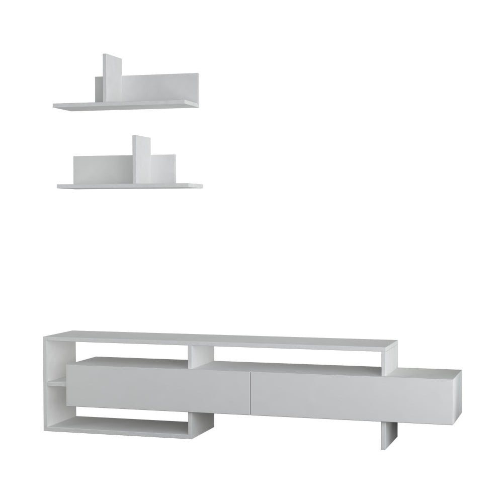 Set bílého TV stolku a 2 nástěnných poliček Homitis Gara