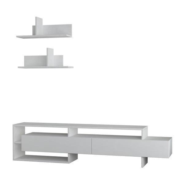 Komplet białej szafki pod TV i 2 półek Homitis Gara