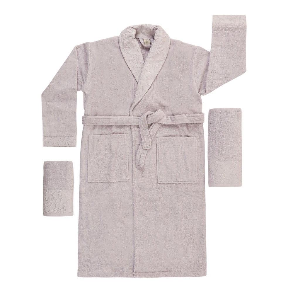 Světle fialový set županu, ručníku a osušky Crespo, vel. M/L