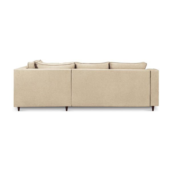 Béžová pětimístná rozkládací pohovka s úložným prostorem Mazzini Sofas Narcisse, levý roh