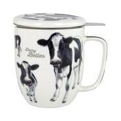 Hrnek z kostního porcelánu s pokličkou a sítkem na sypaný čaj Ashdene Dairy Belles, 350ml