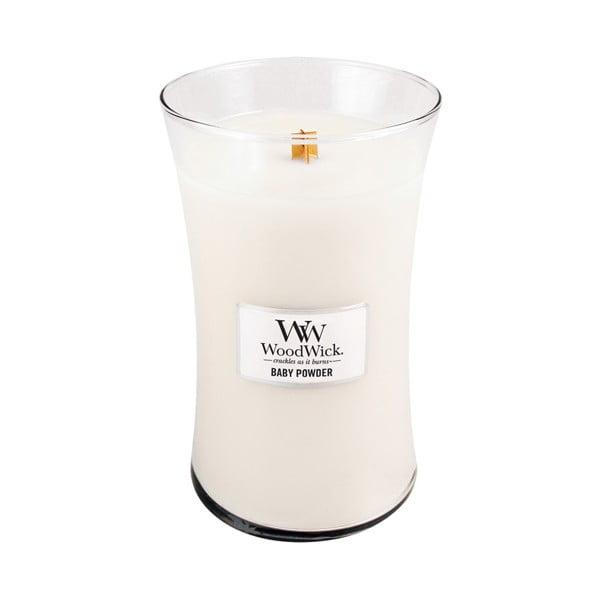 Svíčka s vůní vanilky, medu a růže WoodWick Dětský pudr, dobahoření130hodin