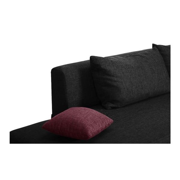 Černo-růžová rozkládací pohovka Modernist Pashmina, pravý roh