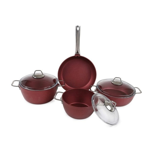 Červený set kuchynského riadu Antonia