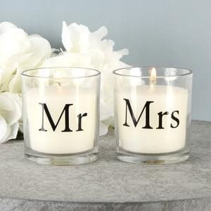 Sada 2 svíček s vůní bavlny Amore Mr. and Mrs., 18hodinhoření
