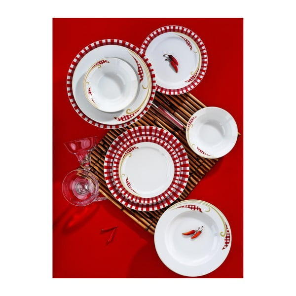 Porcelánový talířový set Yasemin Red, 24 ks