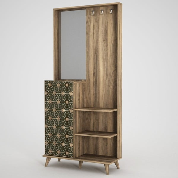 Ratto Tress szekrény tükörrel, diófa dekor