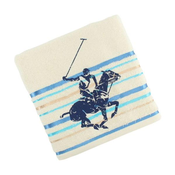 Krémovo-modrý bavlněný ručník BHPC Velvet, 50x100 cm