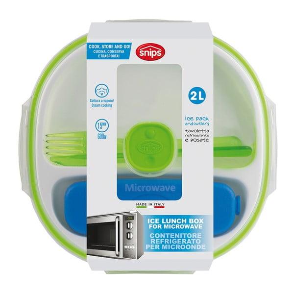 Zeleno-bílý obědový box s příborem a chladičem Snips Lunch