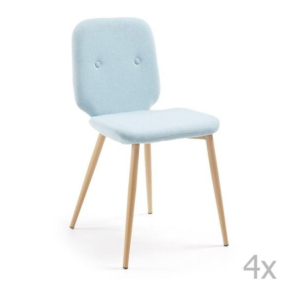 Sada 4 světle modrých židlí s dřevěným podnožím La Forma Stem