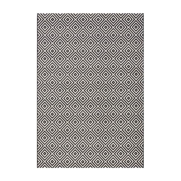 Čierny koberec vhodný aj do exteriéru Karo, 160×230 cm