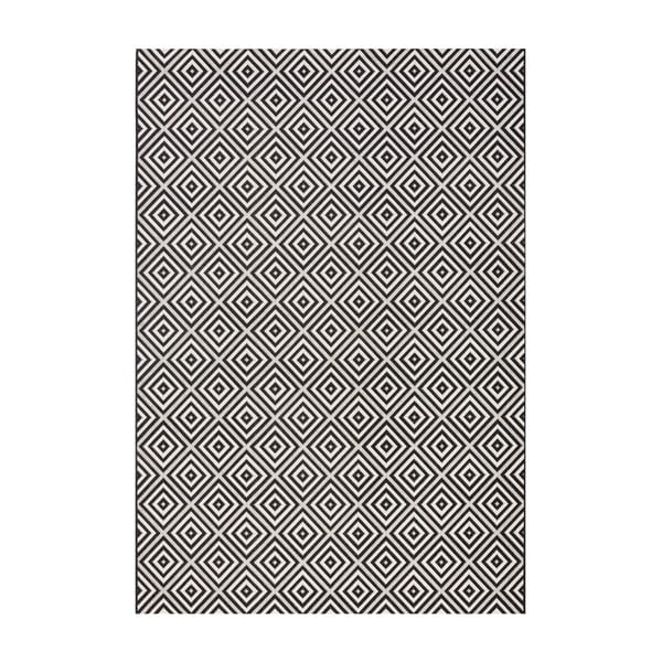 Covor adecvat interior/exterior Bougari Karo, 160 x 230 cm, negru-alb