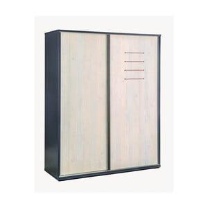 Černá šatní skříň s dveřmi v přírodní barvě Trio Sliding Wardrobe