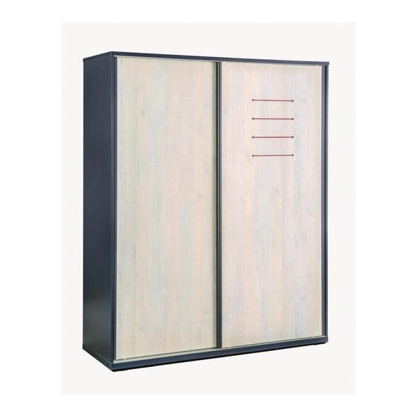 Trio Sliding Wardrobe fekete ruhásszekrény, natúr színű ajtókkal