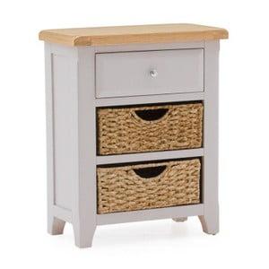 Konzolový stolek z akáciového dřeva s 1 šuplíkem a 2 košíky VIDA Living Clemence