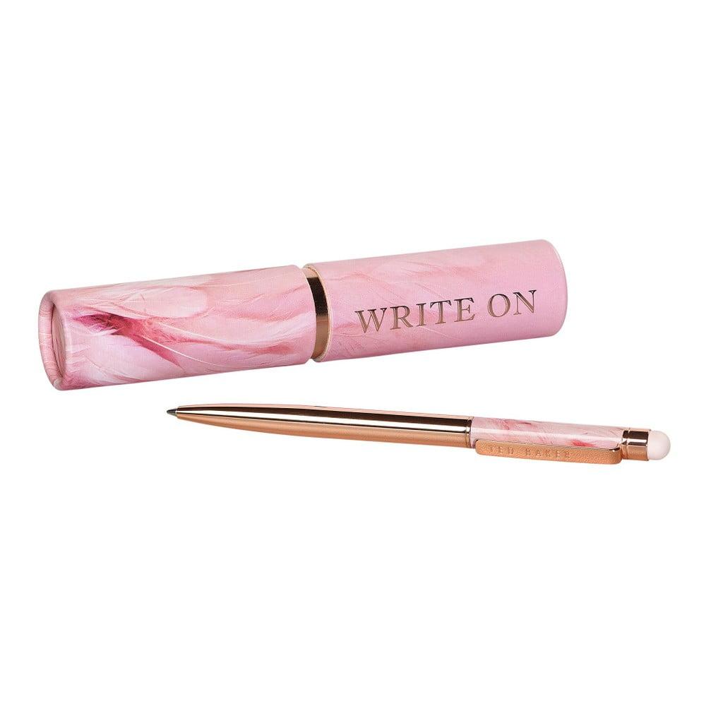 Propiska v růžovozlaté barvě se stylusem a růžovým pouzdrem Ted Baker Touch Screen Angel Falls