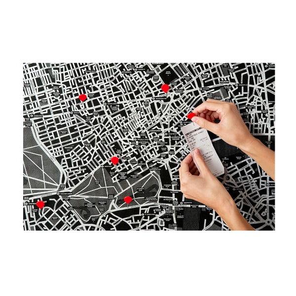 Černá nástěnná mapa Evropy Palomar Pin World, 100x80cm